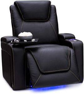 Top grain leather upholstery Power recline Lighted cup holders