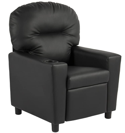 BCP Contemporary Black Leather Kids Recliner